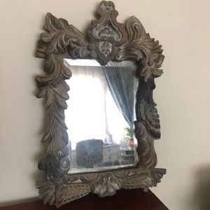 Pottery Barn distressed carved ornate mirror